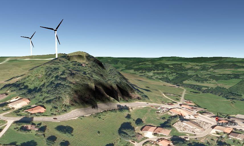 Vue GoogleMap avec éolienne en vent d'ouest