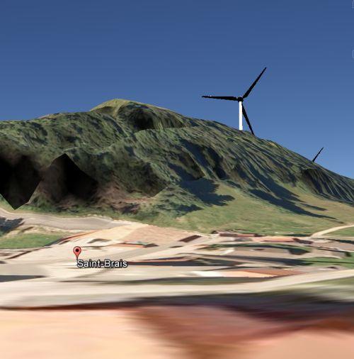 GoogleEarth, vue depuis le village